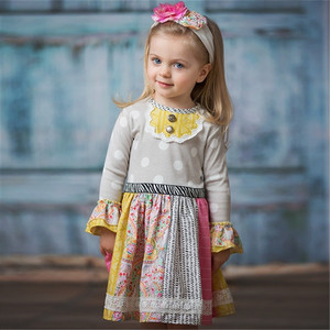 Top selling children's clothing long sleeve kids dress boutique baby girls dress
