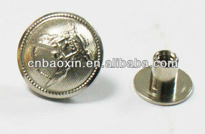 Military screw back buttons in shiny silver color