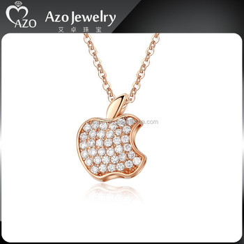 Cute solid 925 sterling silver rose gold apple pendant buy apple cute solid 925 sterling silver rose gold apple pendant aloadofball Image collections
