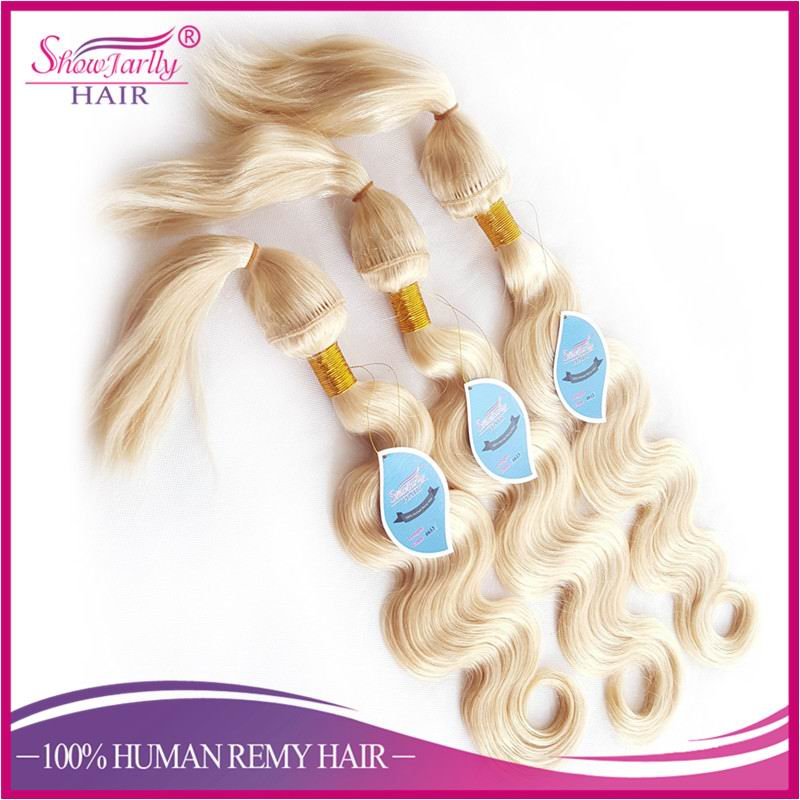 Alibaba Grade 8a Blonde Russian Hair Weft Color 613 Body Wave Wet and Wavy Remy braid in Hair Weave