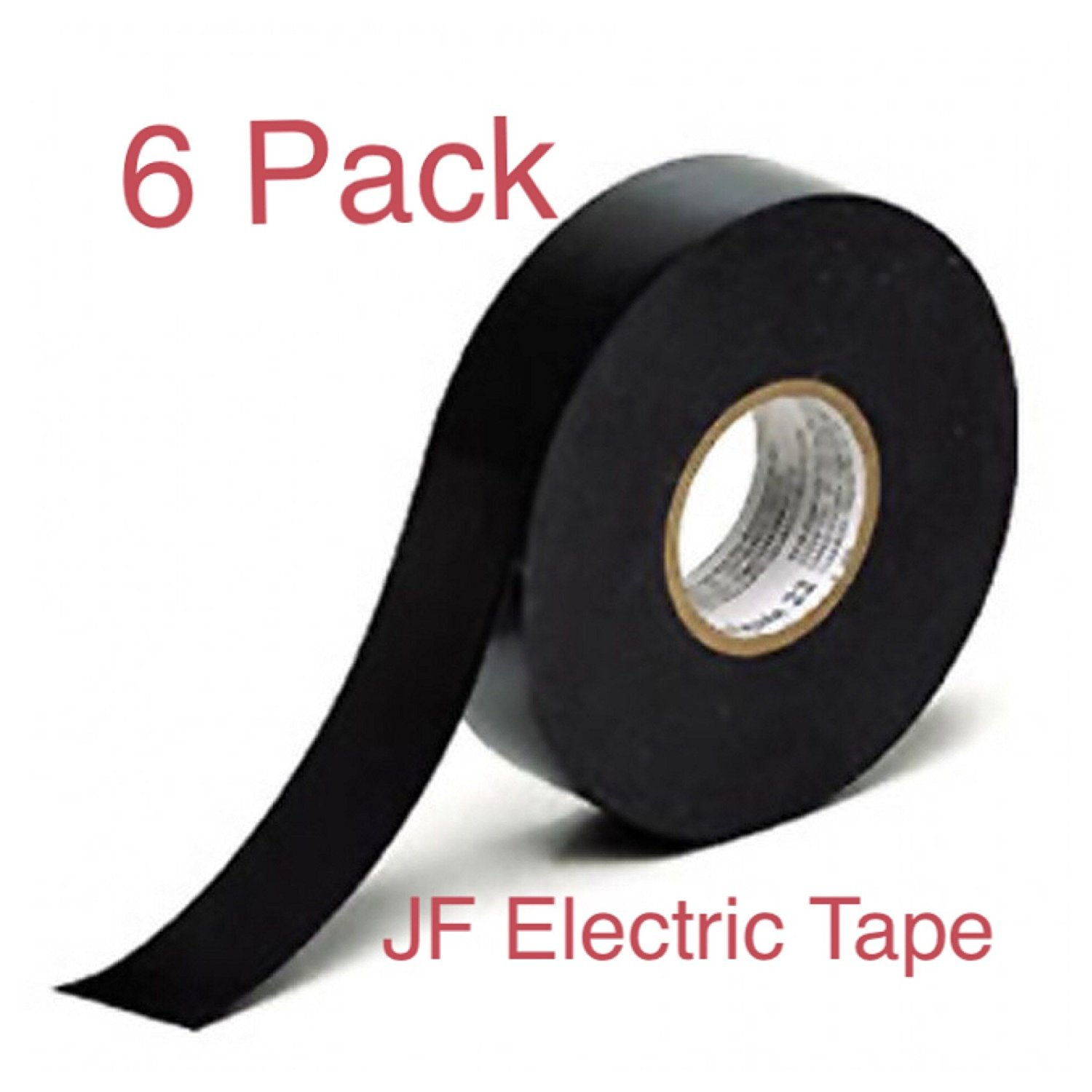 """JF Electrical Tape, Vinyl, Black, Utility Tape, Professional-Grade, 3/4"""" X 50' Value Pack, 6-Rolls."""