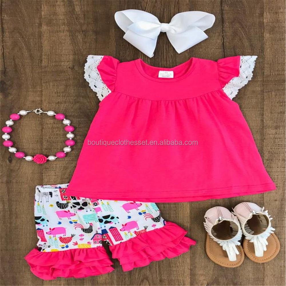 21d958487 2018 girl spring outfit 2 pcs chicken designs clothing set baby wholesale  chicken boutique outfits