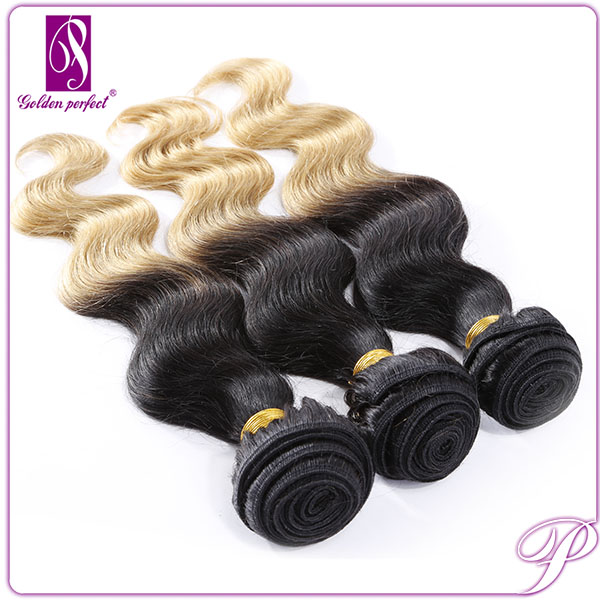 Artificial Hair for Women Black Color with Blonde Highlights Virgin Peruvian Deep Wave Hair