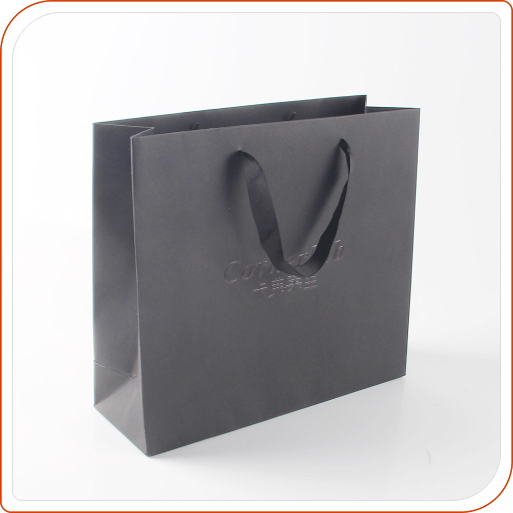 High end bulk craft black paper shopping bags with handles