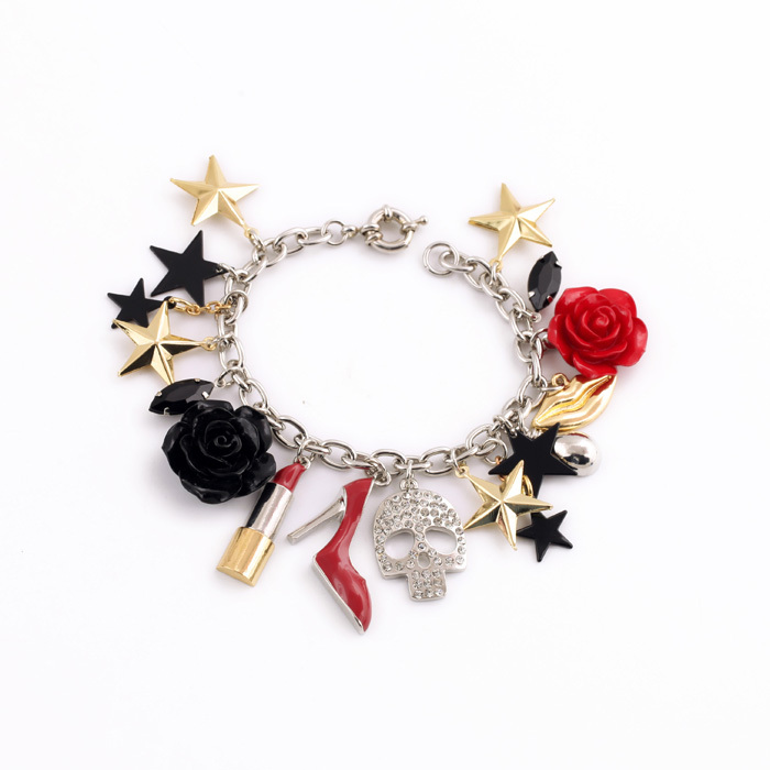 Enamel Flower Red Heels Lip Star Skull Pendant Charm Fashion Bracelet
