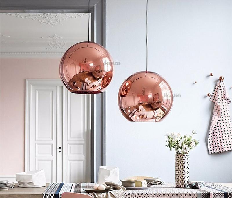 Horstent Nordic Home globe glass pendant lamp silver gold copper color dinning room living room light home decoration lighting (12)