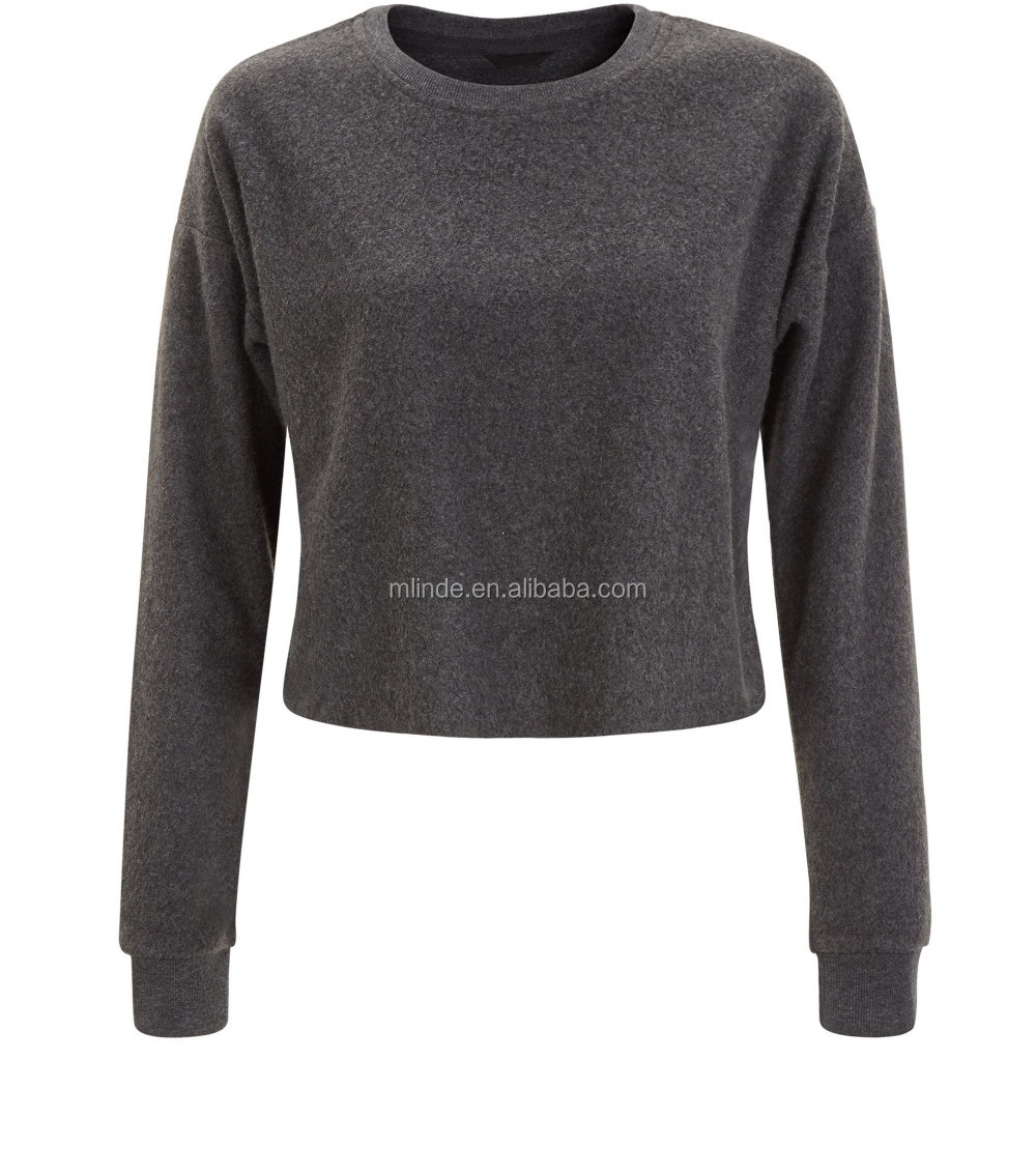 Dark Grey Brushed Cropped Sweat Absorbing T Shirt No Drawstring No ...