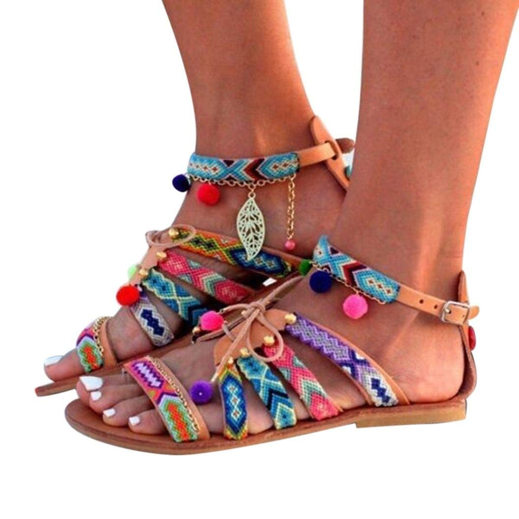 ed28c681058f1 get quotations womens leather flat sandals rhinestone ankle strap ...
