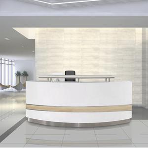 Modern white curved reception desk,front desk on sale