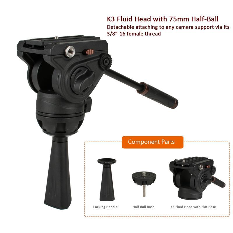 Pro Video Fluid Tripod Head with 75mm Half Ball