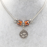 Pisces silver charms orange big hole beads with eye dots beaded pendant necklace with silver chains