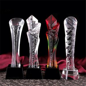 Blanks Hot Red Orange Pink Black Gold Transparent Custom Glass Award Trophies