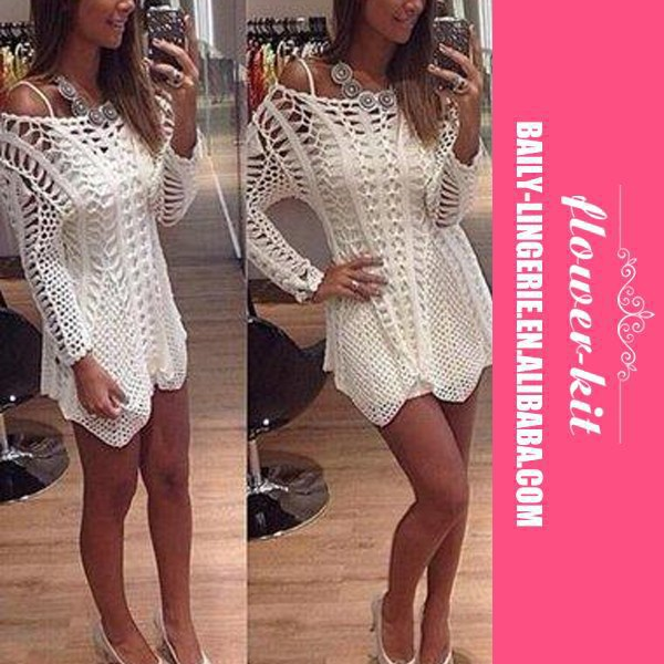 New Arrivals Hot Sexy Off Shoulder White Sexy women Long Sleeves Crochet Beach Cover Ups