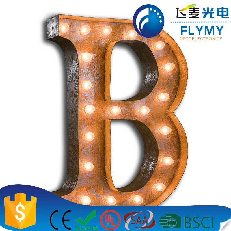 DELICORE Metal LED Marquee Letter Lights Alphabet Light Up Sign for Wedding Home Party Bar Decoration B