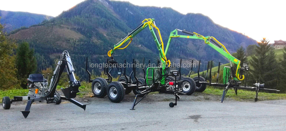 TUV Approval Forestry Timber 4m Hydraulic Crane/Grab/Rotator/ Remote Winch CE