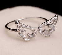Angel wings silver oepn ring