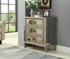 antique 3 Drawer Mirrored Glass Bedside Table Cabinet Chest of Drawers Bedroom Furniture