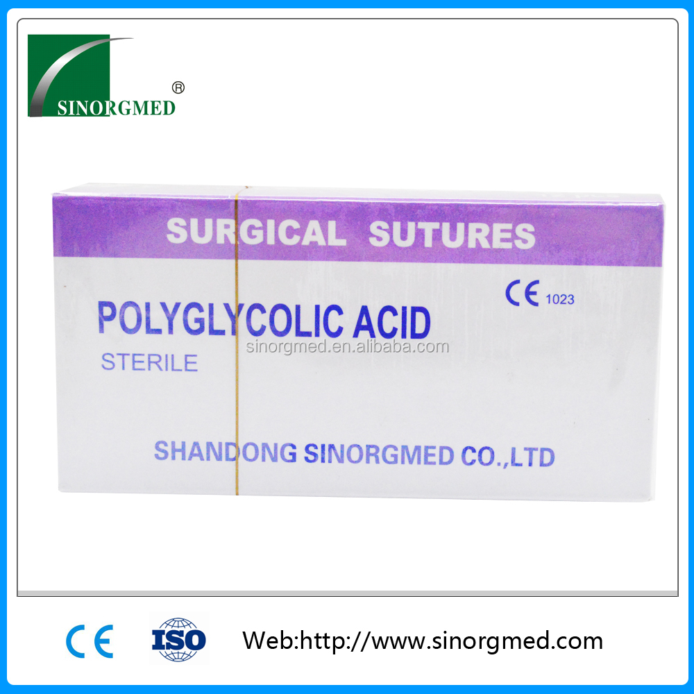 CE approval china medical absorbable PGA surgical suture types(Catgut,Silk,Nylon)