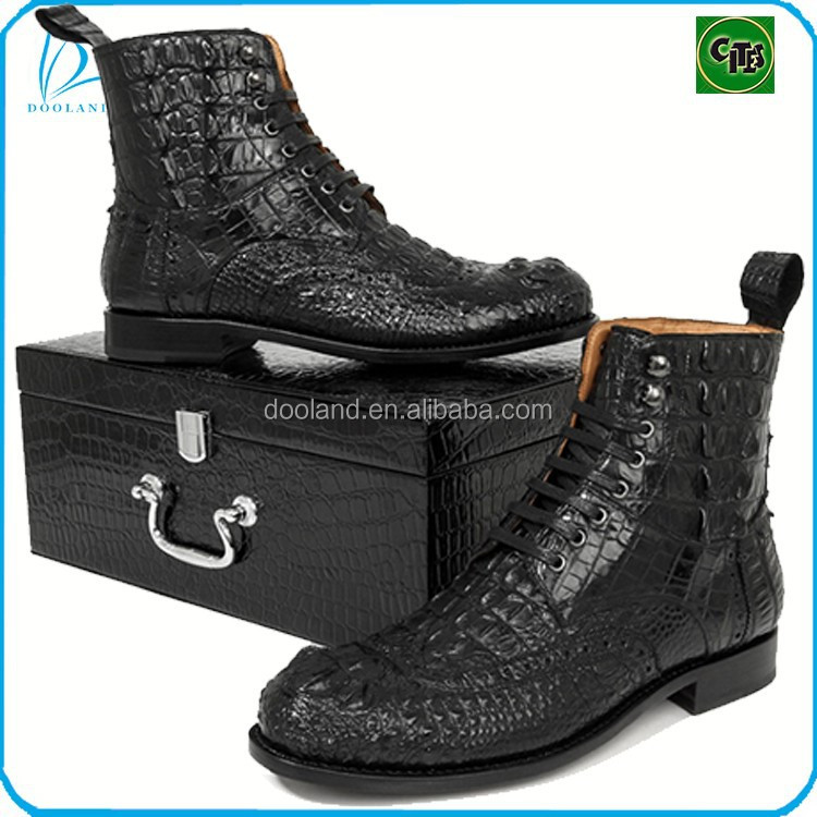 Fashion genuine crocodile leather men high boots shoes