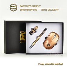 Luxury custom corporate giveaways business gift set with wireless mouse USB flash drive pen