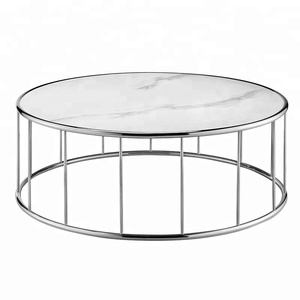 Stainless steel frame faux marble ceramic top round coffee tea table