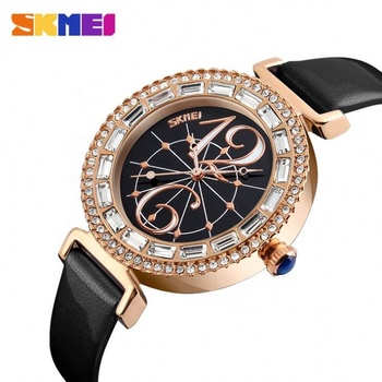Luxury rhinestone inlay skmei 9158 simple ladies select watch noble quartz stainless steel back