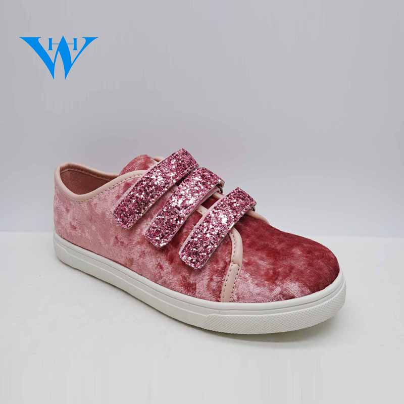 2018 new design kids outfit casual walking shoes girls sneakers with sequin magic tapes