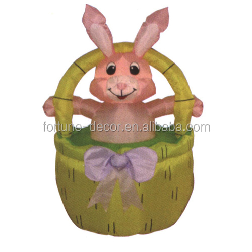 120cm Easter decoration inflatable pink bunny on basket