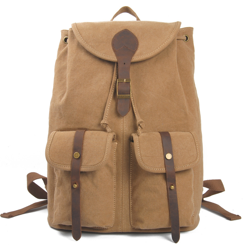 2016 New style Khaki canvas backpack blank canvas bag <strong>school</strong> outdoor