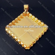 Pendant Blanks Bail fits Inside Diameter:19x19mm rhombus lace pad