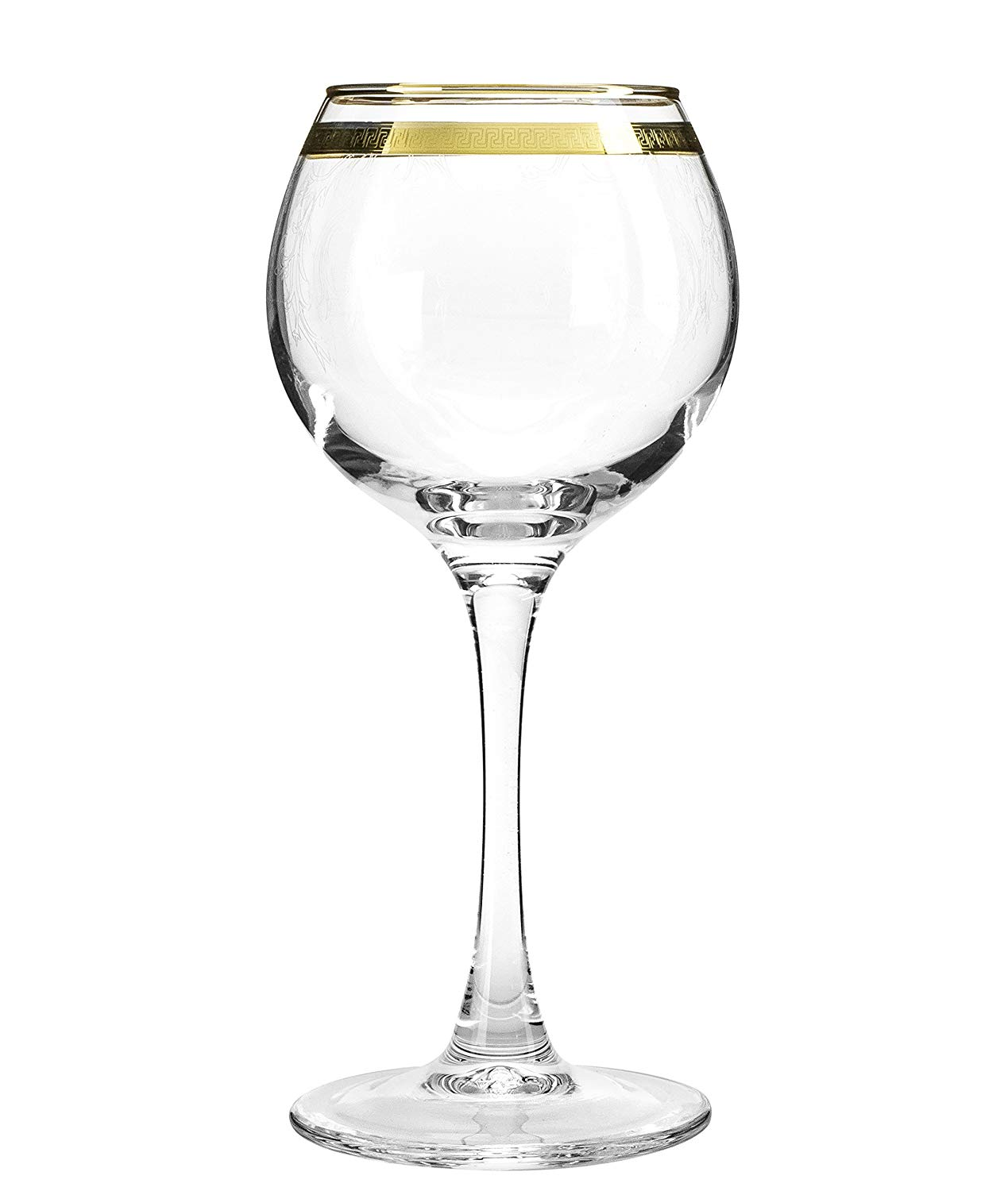 Crystal Goose TL40-1689, 7.1 Oz. Wine Glasses with Gold Sputtering, Clear Red/White Wine Glasses on a Long Stem, Wedding Drinkware, Gift Box Set of 6
