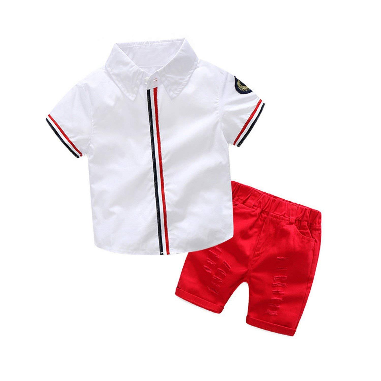 Nerefy Boys Clothing Sets Suits Short Sleeve Shirt + Shorts 2Pcs Kids Clothes Children