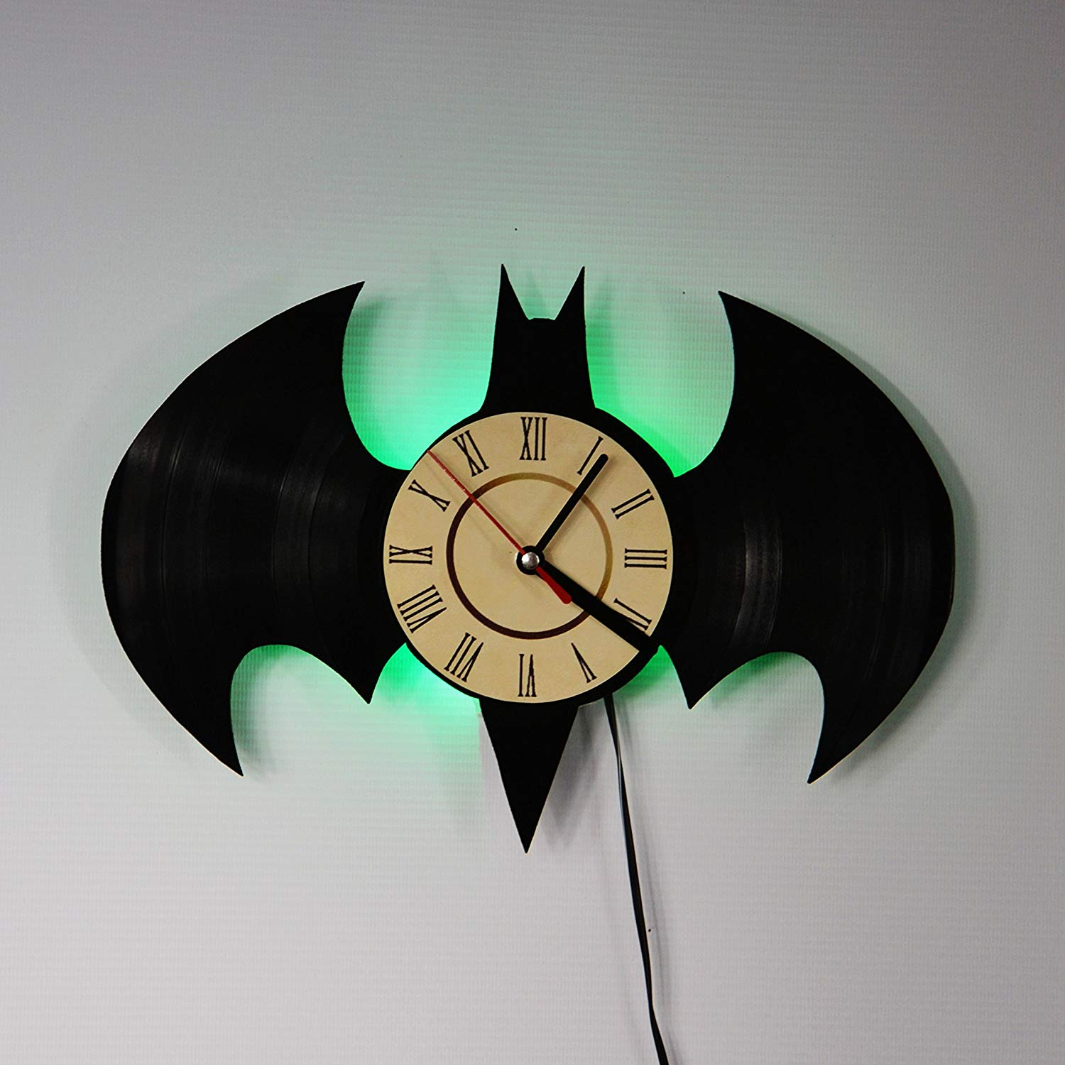 Batman Batarang Green LED Backlight Vinyl Wall Clock Night Color Change Atmosphere Light Lamp Creative Classic Cool Living Room Interior Decor Led Time Clock With Color Red Light