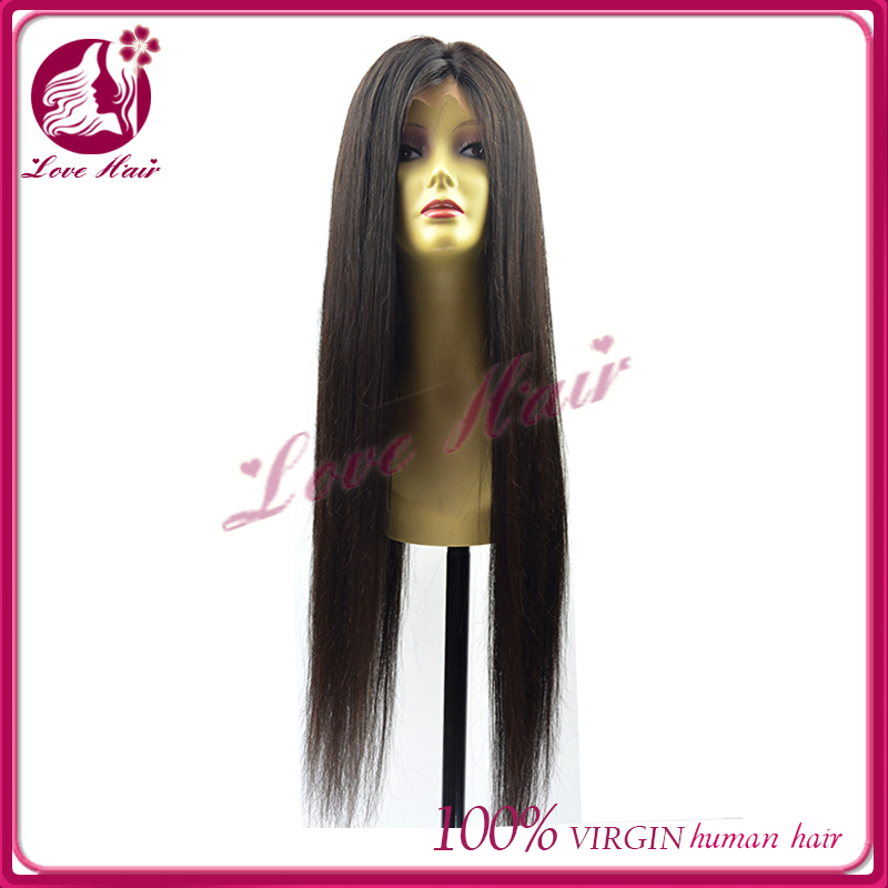 "wow!make hair longest 34"" full lace wig easy price for straight hair protein careful grade 7a virgin hair full lace wig"