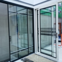 China hot sale hinge automatic exterior frameless aluminum frame 96 x 80 folding tempered sliding glass door price