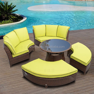 round shape rattan furniture sofa bed