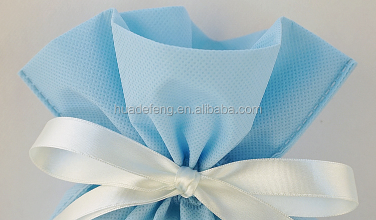 Huadefeng Blue Color Birthday Party Ribbon Non Woven Drawstring Pouch
