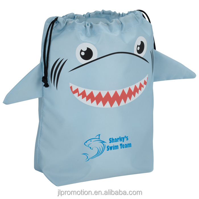 210D polyester Paws and Claws Drawstring Gift Bag Shark bag