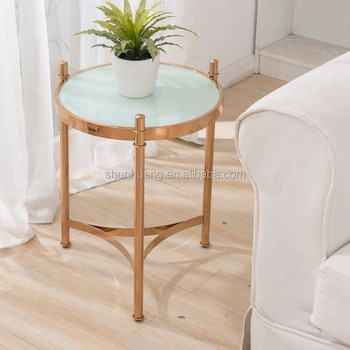 Living Room Sofa Side Small Round Coffee Table Gold Finishing Glass Top End Table Buy End Tablesmall Round Coffee Tablegold Coffee Table Product