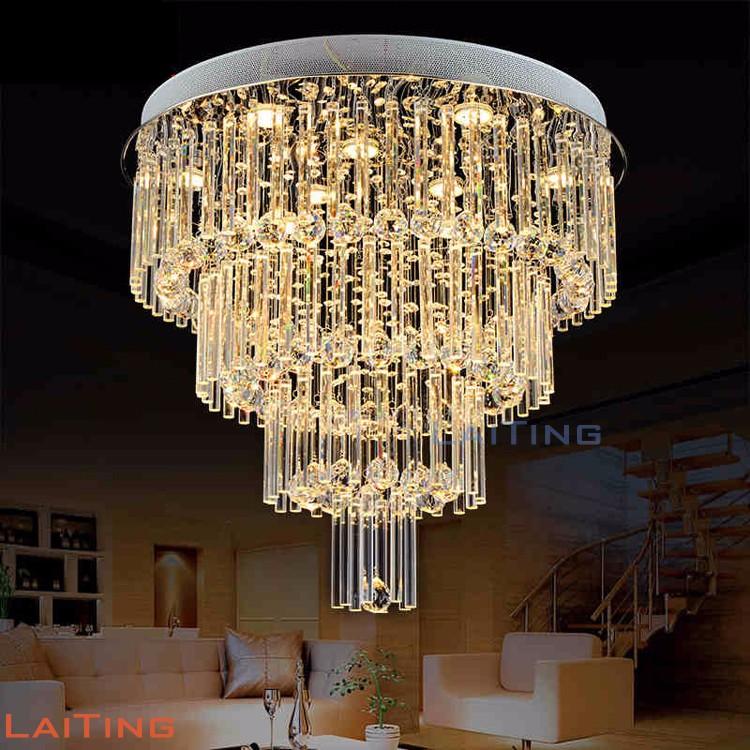 Hedendaags Grote Kristallen Kroonluchter Ronde Ontwerp Plastic Covers Lamp GW-12
