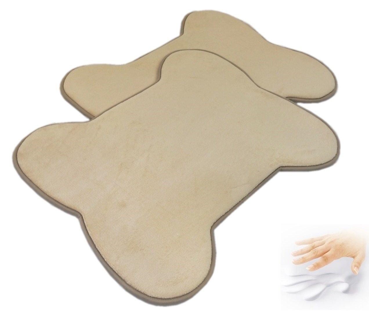 2 Quantity: Beige color Bone Shaped Fleece Comfort Soft Luxurious Memory Foam Waterproof Anti Slip MicroPlush Mat Pad Rug for home, kitchen, bathroom, bedroom, Pets, Activities.