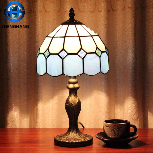 Handicraft study use tiffany table lamp with simple style five color series