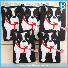 For iPad 2 3 4 5 6 Cartoon Bull Dog Silicone Case 3D bulldog Tablet Cover For iPad mini 1 2 3 4