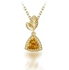 Fancy Pendant Designs For Girls , Natural Citrine 14K Gold Plating Yellow Druzy Pendant