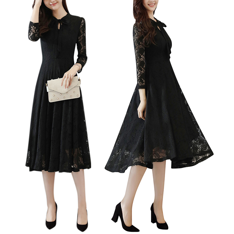 Bulk Wholesale Black <strong>Lace</strong> Long Sleeve Dress <strong>Women</strong> <strong>Clothing</strong> Plus Size Midi Dresses