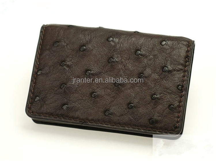 Handmade Ostrich Leather Card Wallet Square Business Card Holder