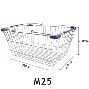 Factory directly supply M25 collapsible metal supermarket shopping basket foldable