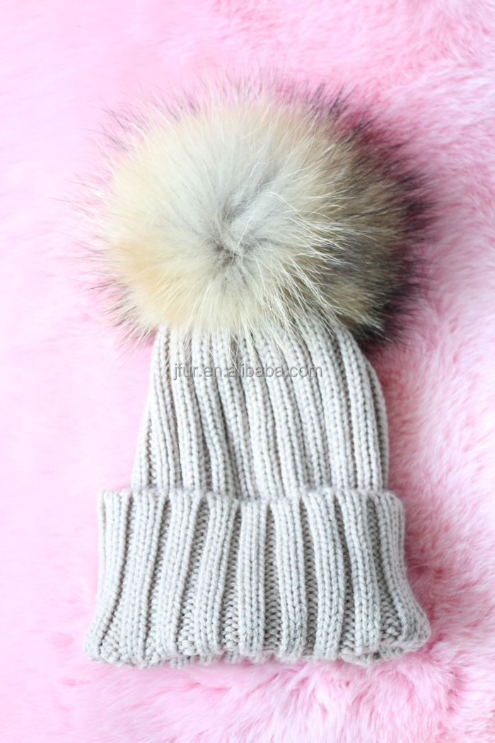 639020f507ca3d Fashion modern Baby Pompom Hat Large Raccoon Fur Ball Beanie Knitted Cap  Favorable Design