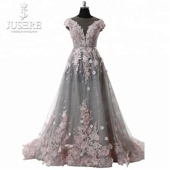 Elegant 3d Flowers Handmade Pink Grey Suzhou Prom Dress Supplier d30941d76