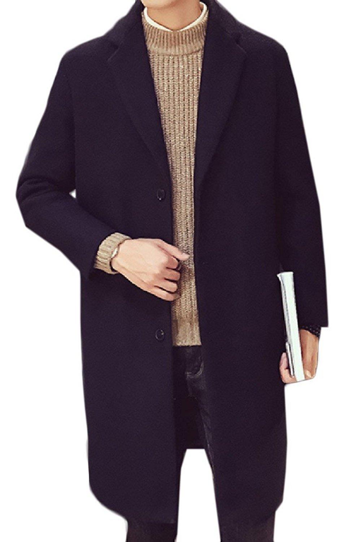 Dark Grey, M ZYFGfree Autumn Winter Fashion England Style Collared Metal Button Long Sleeve Double Button Peacoat